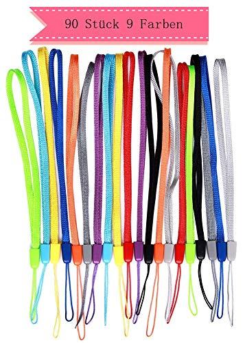 Cosanter Schlüsselband, 90Stück, Lanyards aus Nylon, kurzer Schlüsselanhänger, Band für Ausweis, Halterung für USB-Stick, Handy, Kamera, 17cm
