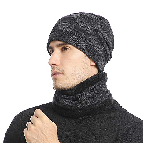 Unisex Knitted Coltrui Hoed Sjaal Set, Winter Warm Outdoor Skiën Cap Schedel Hoed Sjaal Set