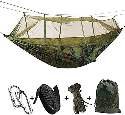 QQW Camping/Jardín Haa con Mosquitero Muebles de Exterior 1-2 Persona Portátil Colgante Fuerza Solución de Paracaídas Swey Swing,Camuflaje