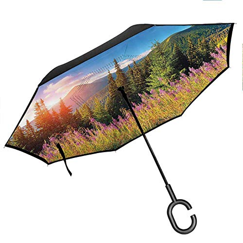 Apartment Decor Umbrella for Women with UV Protection Fall Season Landscape Picture in Mountains with Flowers Alpine Trees Forest at Sunrise Green Pink