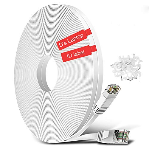 Cat6 Ethernet Cable 50 ft, Flat Internet Network Patch Cord Cable, Cat6 High Speed Computer Wire with Clips, RJ45 Network LAN Cable for Router, Modem, Gaming, Xbox, PS4, Switch, White