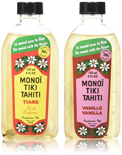 Monoi Tiare Tahiti Tiki Vanilla and Gardenia Scented Coconut Oil Bundle, 4 oz. each by Monoi