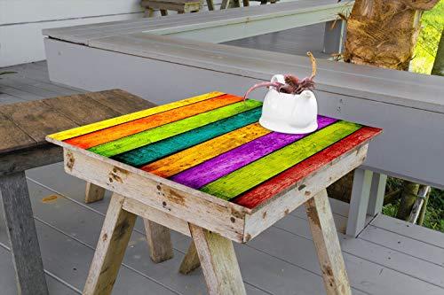 Wallario Aufkleber Selbstklebende Garten-Tisch-Decke - Buntes Holz - Bunte Streifen mit Farbe und Holzstruktur in 50 x 50 cm