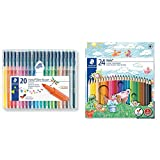 Staedtler 323 SB20 - Rotuladores, 20 Unidades, Multicolor + Noris Club - Pack de 24 lápices de , Multicolor