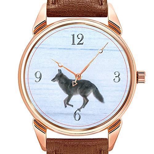 Herrenuhren Fashion Luxury Quarzuhr Business Waterproof Luminous Watch Herrenuhr aus braunem Leder Grey Wolf Running on Frozen Lake #Gift Watches