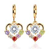 Presock Pendientes Mujer,Aretes Women's Multi-Color CZ Drop Earrings Gold Color Heart Dangle Earrings Jewelry Wedding Multicolor