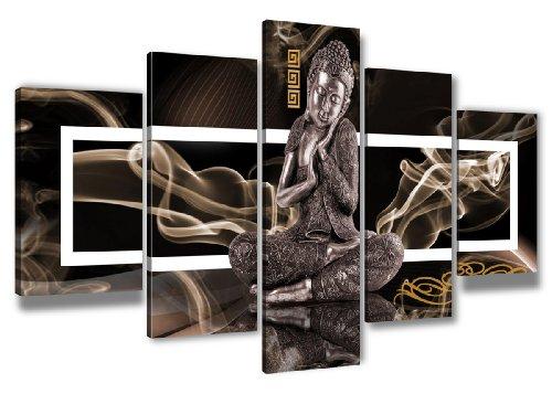 Visario Bild auf Leinwand der Deutschen Marke 200 x 100 cm fünfteilig Buddha 6306 Bilder Kunstdrucke Wandbild