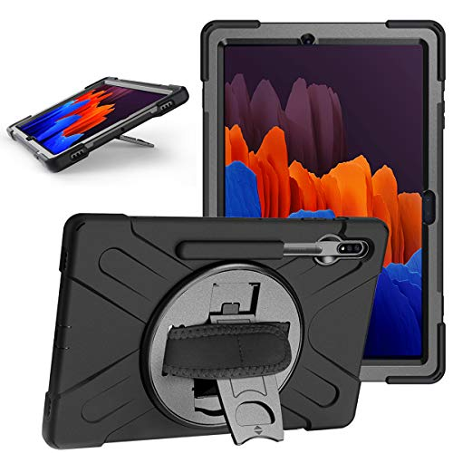 TiMOVO Case for All-New Samsung Galaxy Tab S7 Plus 12.4 Inch Tablet (SM-T970/T975/T976), Shockproof Full-Body Rugged 360 Degree Rotating Case Fit Galaxy Tab S7 Plus 2020 Tablet, Black