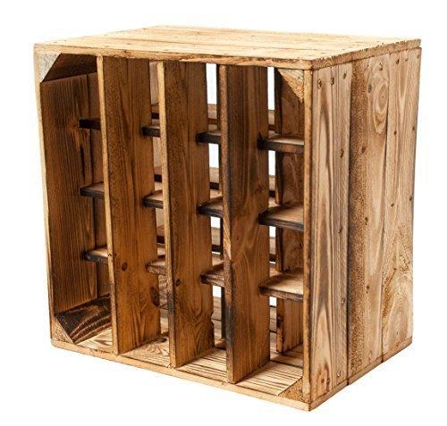 3er Set -Geflammtes Weinregal für bis zu 16 Flaschen 40x40x27 cm Kistenkolli Altes Land Wein Regal | Flaschenregal