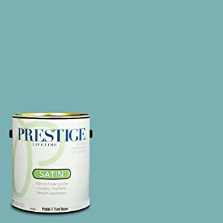 Prestige Paints P400-T-SW6486 Interior Paint and Primer in One, 1-Gallon, Satin, Comparable Match of Sherwin Williams Reflecting Pool, 1 Gallon, SW25-Reflecting
