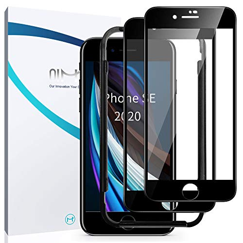QiMai [2 Stück] Panzerglas Schutzfolie für iPhone SE 2020, Full Screen Panzerglasfolie für iPhone SE/8/7, 9H Härte Glas Folie,HD Klar Displayschutzfolie