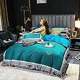 juego de funda de edredón cama matrimonio,Casa de seda de seda de seda para el hogar Conjunto de cuatro piezas, reversión de Tiangye de alto grado Anti-Fading suave y cómoda dormitorio transpirable p