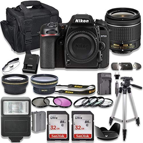 Nikon D7500 DSLR Camera with AF-P 18-55mm VR Lens + 2 x 32GB Card + Accessory Kit