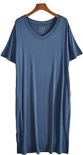 TieNew Women's Pocket Side Slit Ladies Loose Nightdresses Long Nightdress Sleepwear T-Shirt Dress