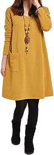 Otoño Vestido de Las Mujeres del tamaño Extra Grande de Manga Larga Bolsillos Solid Cuello en V Vestido Suelto S-5XL