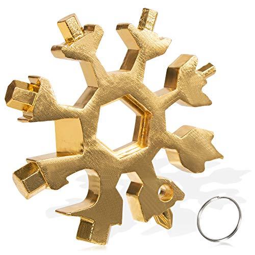 18 in 1 Schneeflocken Multitool, Edelstahl Multifunktionswerkzeug, Sechskantschlüssel, Schraubendreher, Inbusschlüssel, Flaschenöffner, bestes EDC Werkzeug, Geschenk für Weihnachten (Gold)