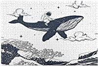 オーシャンウェーブでクジラに乗る子供大人の宇宙飛行士のための1000ピースのジグソーパズルオリエンタルヴィンテージ神奈川沖浪アートDIYパズルフェスティバル家の装飾