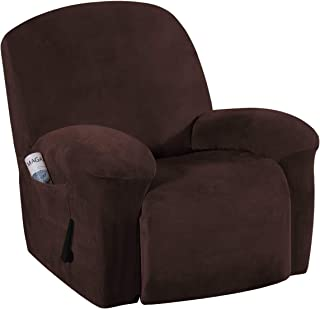Best Stretch Recliner Covers with Pockets 1-Piece Recliner Chair Slipcovers Furniture Cover for Recliner Couch Cover Velvet Plush Slipcover Anti-Slip Slipcover Highly Fitness(Recliner, Brown) Review