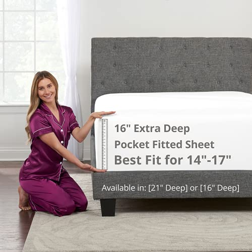 """King Size Fitted Sheet Only - Real 16"""" Inch Deep Pocket White Fitted King Sheet - Best Fit for 14"""" - 18"""" Deep Pocket Mattress - Soft Easy Care Bottom Fitted Bed Sheets Only - King Size - Bright White"""