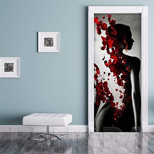 QHOXAI Etiqueta Engomada De La Puerta 3D Pétalos De Rosa De Cuerpo Artístico Papel Pintado Fotográfico Sala De Estar Dormitorio De Los Niños Decoración Para El Hogar Calcomanía Art Poster Murales 85X2
