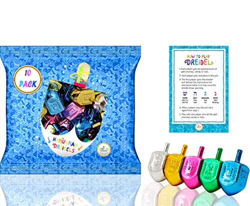 Hanukkah Dreidels Plastic Multicolored Metallic Dreidels with Foil Embossed Hebrew Letters & English Transliteration (10-Pack)