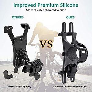 """Bovon Soporte Movil Bicicleta, Soporte Universal Manillar de Silicona para Bicicleta de montaña y Motocicleta, Soporte para iPhone 11 Pro/X/XS MAX, Samsung Galaxy S9 S8 y 4.5""""-6.0"""" Smartphones"""