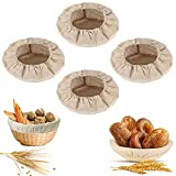 JAHEMU Redondas de Lino Inserto de Lona, Bread Making Starter Jar Kit Bolsa de Pan Basket Cloth Liner Natural Rattan Basket Cover para Canasta de Pan, 4 Piezas (9 Pulgadas)