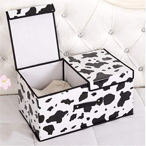ETRZ Kleideraufbewahrungsbox Falttuchaufbewahrungsbox (weiße Kuh Doppeldeckel Trompete 36 * 25 * 16cm)