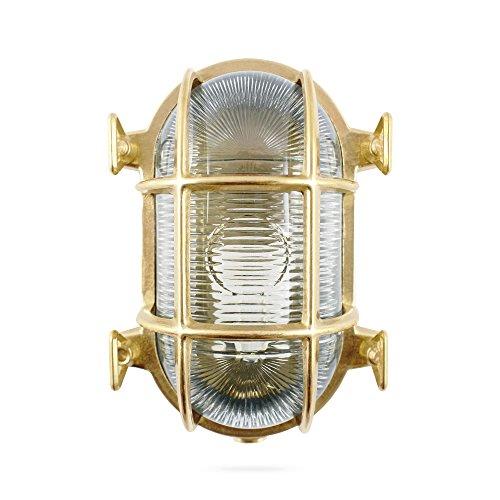 Foresti & Suardi - Ovale Maritime Lampe | Schiffslampe | aus poliertem Messing | 175 x 130 mm | IP 54 | E27 Sockel (klares Glas)