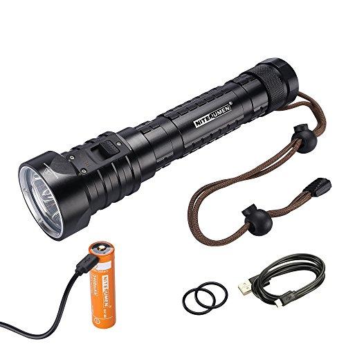 Nitenumen DF4 Tauchen Taschenlampe 4 x Cree XM-L L2 LED 3200 LM Unterwasser bis 100m Flashlight,2 x 3,7 V USB aufladbaren Lithium-Akku Taucherleuchten