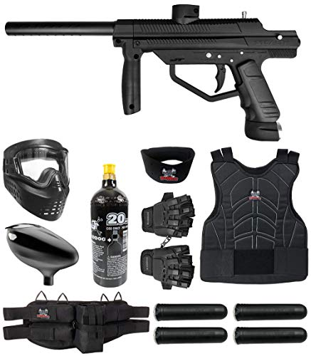 Maddog JT Stealth Semi-Automatic .68 Caliber Protective CO2 Paintball Gun Starter Package - Black