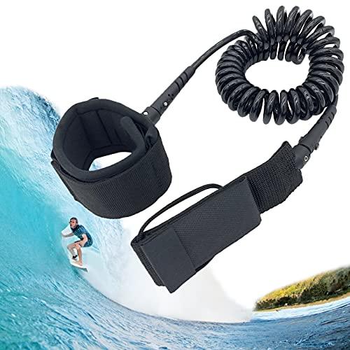 Cuerda de surf de 10 pies con correa de remo, cuerda de seguridad de TPU con cierre de velcro y articulación giratoria de 360°, correa para tabla de surf para surf de surf