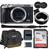 Canon EOS M6 Mark II Mirrorless Digital Camera (Silver) Body Only Kit with Auto (EF/EF-S to EF-M) Mount Adapter + 32GB Sandisk Memory + 100EG Padded Case and More.
