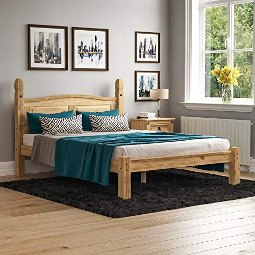 Vida Designs Corona Double Bed, 4 ft 6, Low Foot End Bed Frame, Solid Pine Wood