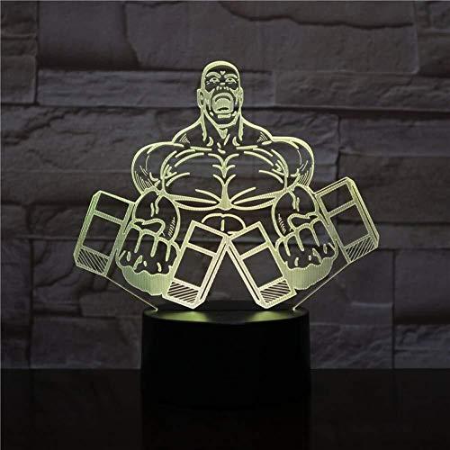 3D Illusion Haltère Fitness Lampe LED avec capteur tactile coloré Chambre lampe de chevet Bureau de décoration Kids Festival cadeaux d'anniversaire Present USB Charge lumière de nuit