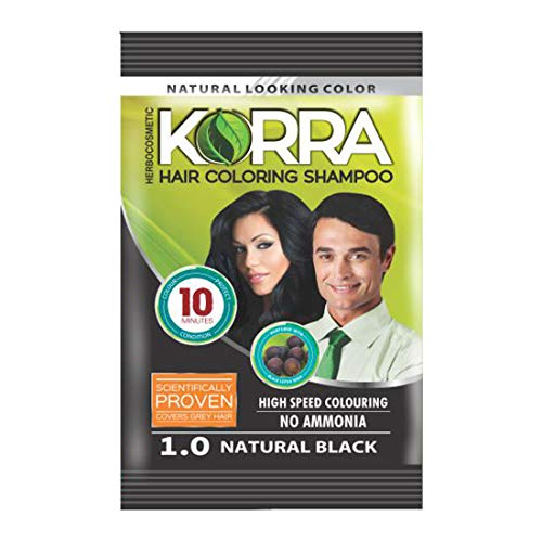 Hair Korra Herbal Coloring Shampoo (1.0 Natural Black) Pack of 10