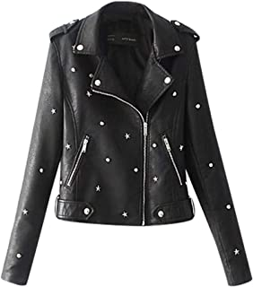 Coat for Women,Casual Long Sleeve Embroidered Studded Zipper Slim Leather Jacket Ladies Warm Coat with Pockets