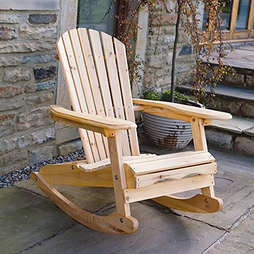 Trueshopping Adirondack Bowland Rocking Chair Armchair for Garden or Patio in natural solid wood Comfortable curved backrest Perfect for Outdoor or Indoor use