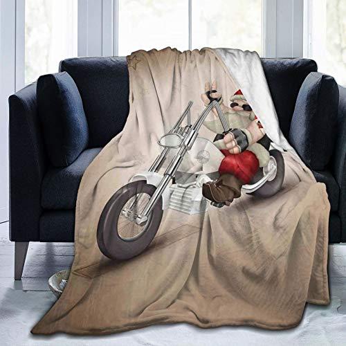 Manta mullida, diseño de Papá Noel con tatuaje de corazón en moto, diseño de la paz, ultra suave, para dormitorio, cama, TV, manta de cama de 80 x 60 pulgadas