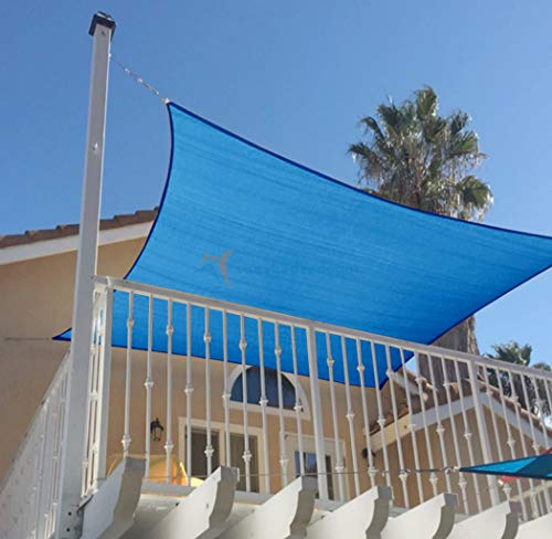 LONGSAND 10x16ft(3m x 5m) Rectangle Canopy Air Permeable Sun Shade Sail Waterproof Pergola UV Block Awning with 4 Ropes Garden Backyard Pergola,Lake Blue,10x16ft(3m x 5m)