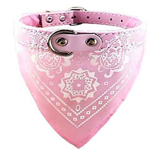 Newtensina Mode Hundebandana Halsband HundeHalsband Junge Mittel Bandana Hündchen Bandana mit Halsband für Hunde - Pink - S