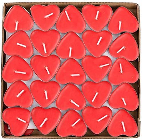 Gearmax 50pcs T en Forma de Corazón Sin Humo Velas Creativo Romántico Vela de Amor para Confesión, Proponer, Cumpleaños (Rojo)