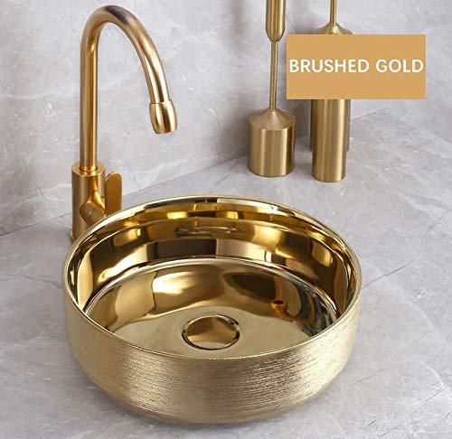 InArt Lavabo redondo de cerámica para baño, color dorado, lavabo para baño modernos/Tradicional, Sink,lavabo sobre encimera, 14' x 14' x 5' pulgadas