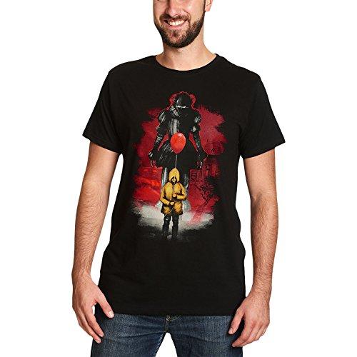 Elbenwald ES T-Shirt Red Balloon Pennywise zu Stephen Kings IT Baumwolle schwarz für Damen und Herren XL