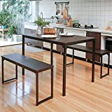 Dining Room Table Set 3, Bonzy Home 3 Piece Kitchen Table Set with Two Benches, Modern Wood Look Table Set for Kitchen,Dining Room, Restaurant (Brown)