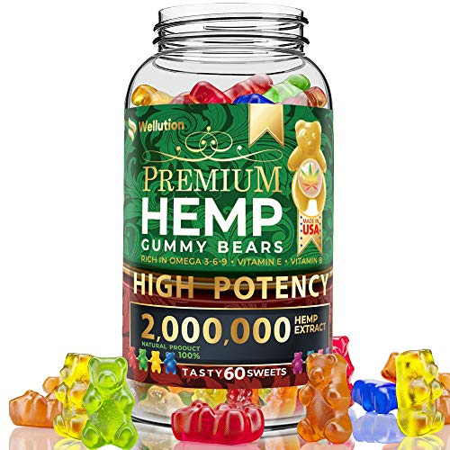Hemp Gummies Premium 2,000,000 High Potency - Fruity Gummy Bear with Hemp Oil | Natural Hemp Candy Supplements for Pain, Anxiety, Stress & Inflammation Relief | Promotes Sleep & Calm Mood