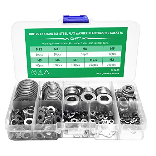 580 Pieces Flat Washers Set 304 Stainless Steel, 9 Sizes - M2 M2.5 M3 M4 M5 M6 M8 M10 M12(Silver) (Screw Set M2 M2.5 M3 M4 M5 M6 M8 M10 M12)