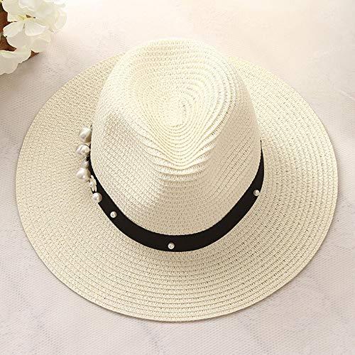 TJLSS Earl estereoscópica Perla del Sombre Color de Costura Beach Holiday Sun de la Paja Sombreros de Estilo de Las Mujeres del Verano del Sombrero (Color : B)