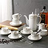 Tea Set 15 Pieces Gold Trim Glazed Porcelain Coffee and Tea Service Set with 6 Piece Cups and Teapot Tray Afternoon Tea Drinkware Coffee Set Cup &Amp; Saucer Sets,Size:Set of 15,Colour:Silver, lsxys