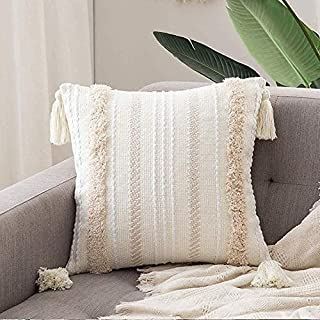 MOCOFO Luxe Housse de Coussin Tufting Pompon, décoratif pour canapé et lit, Blanc, taie d'oreiller Housses de Coussin déco...